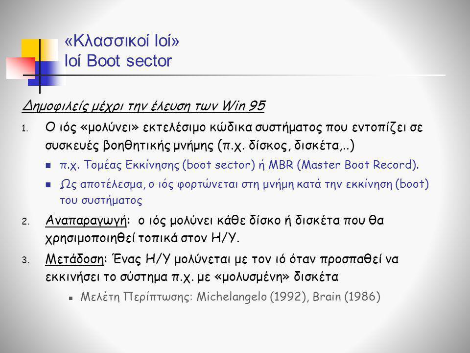 «Κλασσικοί Ιοί» Ιοί Boot sector