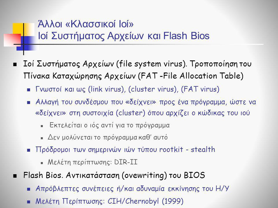Άλλοι «Κλασσικοί Ιοί» Ιοί Συστήματος Αρχείων και Flash Bios