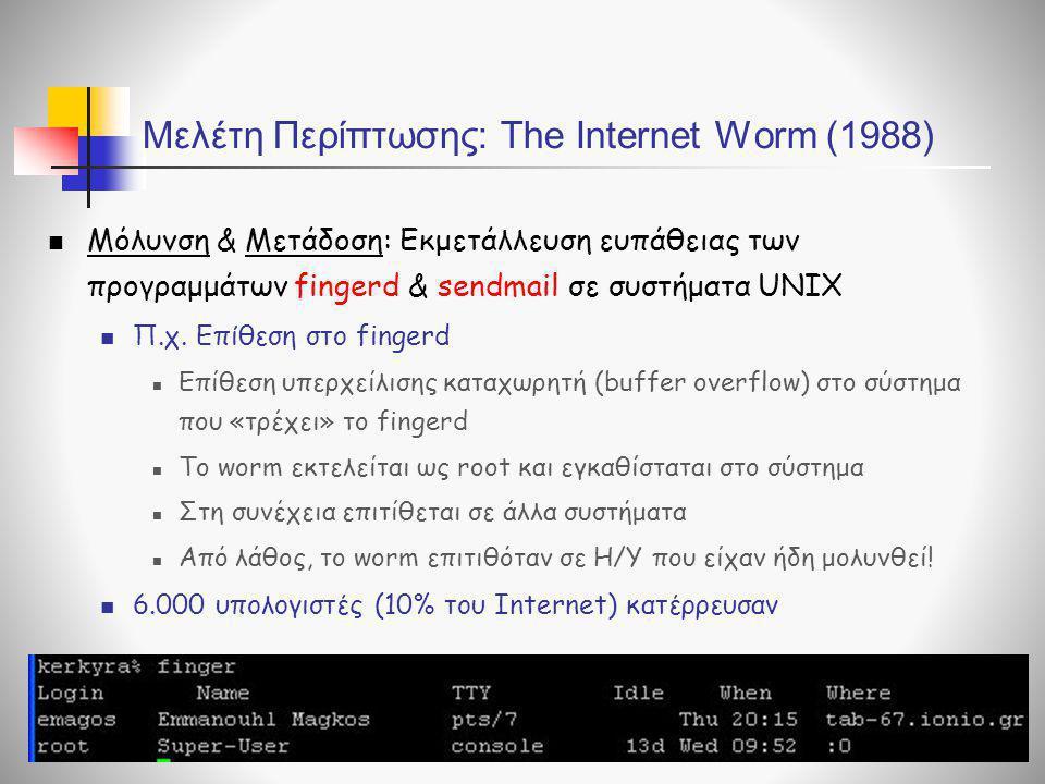 Μελέτη Περίπτωσης: The Internet Worm (1988)