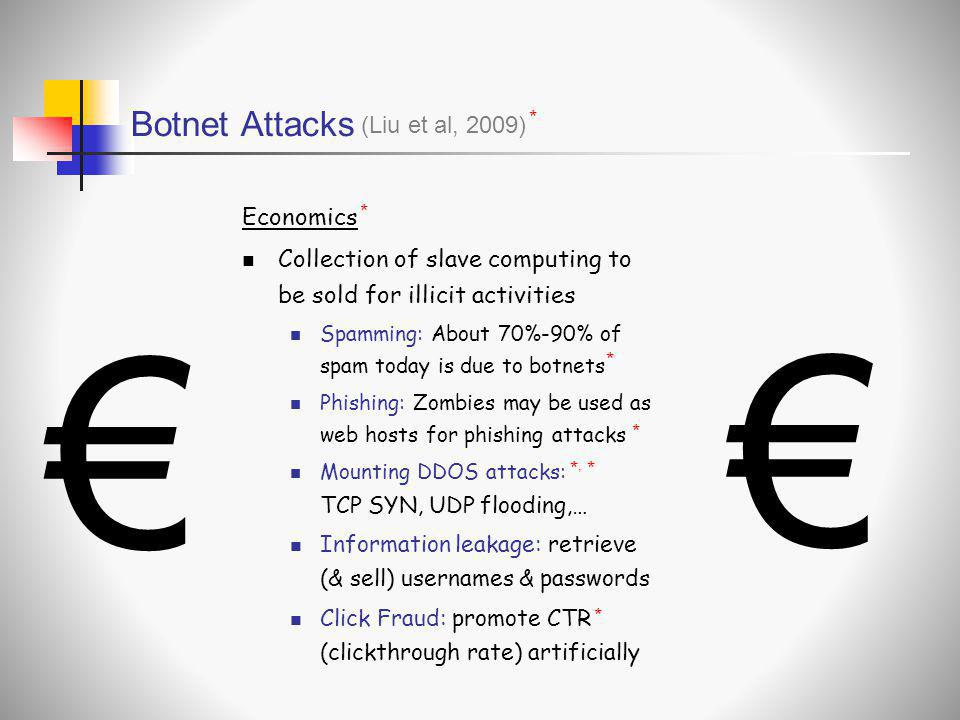 € € Botnet Attacks (Liu et al, 2009) Economics