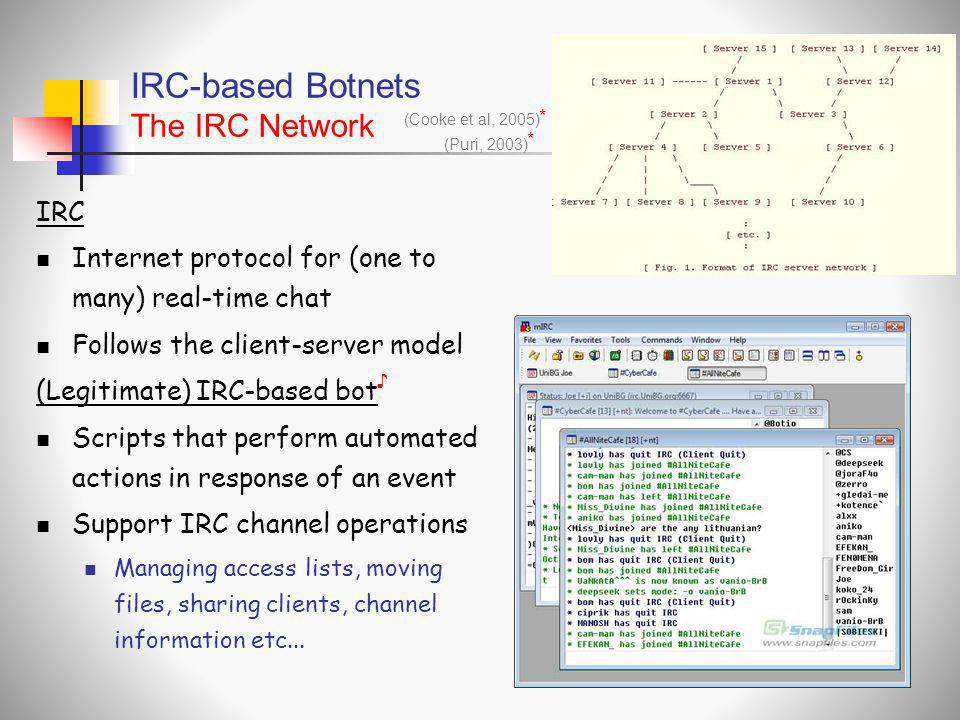 IRC-based Botnets The IRC Network
