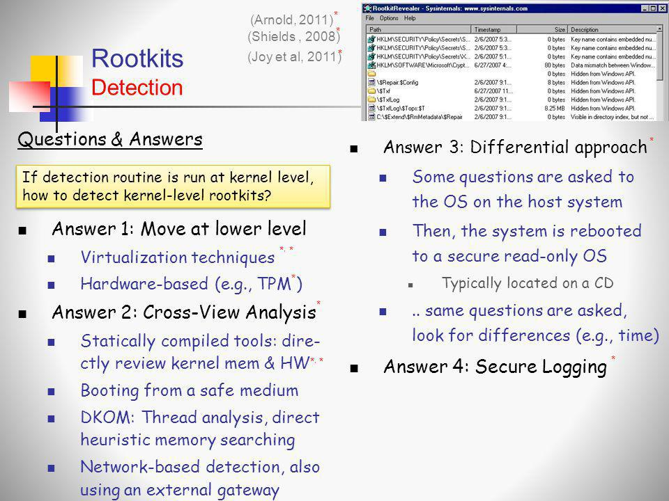 Rootkits Detection Questions & Answers Answer 1: Move at lower level