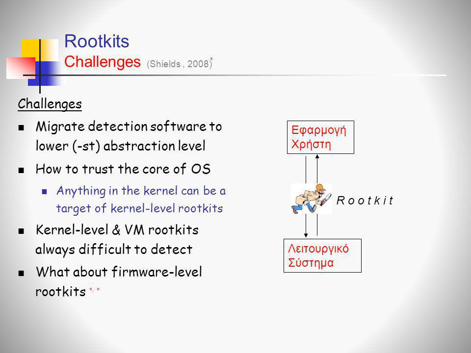 Rootkits Challenges Challenges