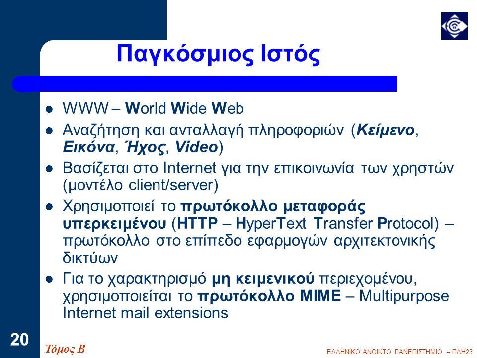 Παγκόσμιος Ιστός WWW – World Wide Web
