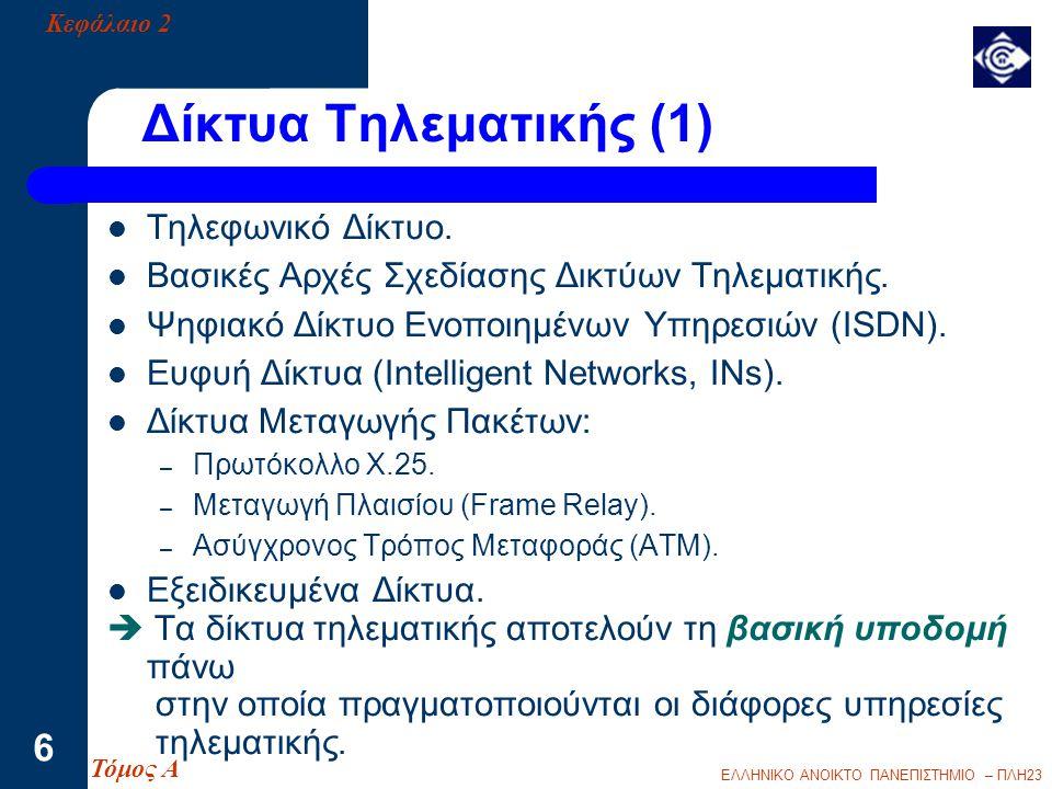 Δίκτυα Τηλεματικής (1) Τηλεφωνικό Δίκτυο.