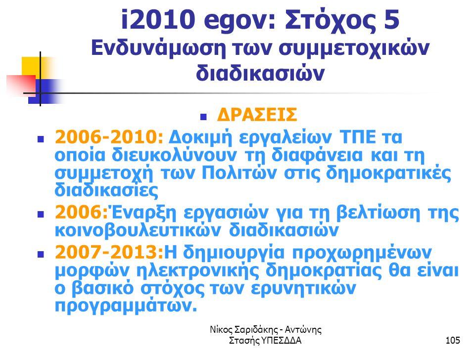i2010 egov: Στόχος 5 Ενδυνάμωση των συμμετοχικών διαδικασιών