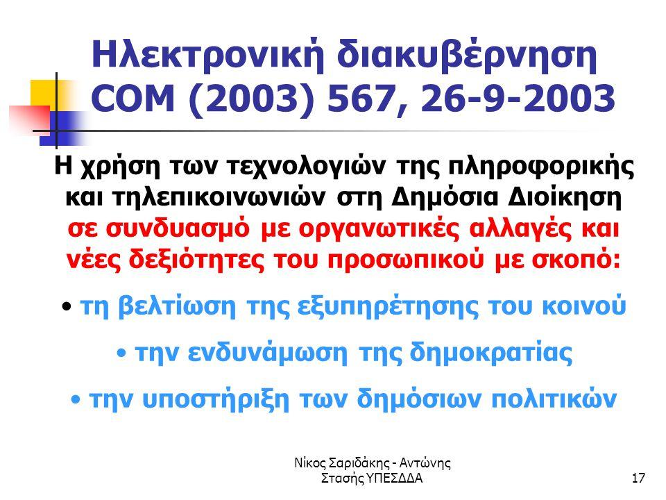 Ηλεκτρονική διακυβέρνηση COM (2003) 567, 26-9-2003