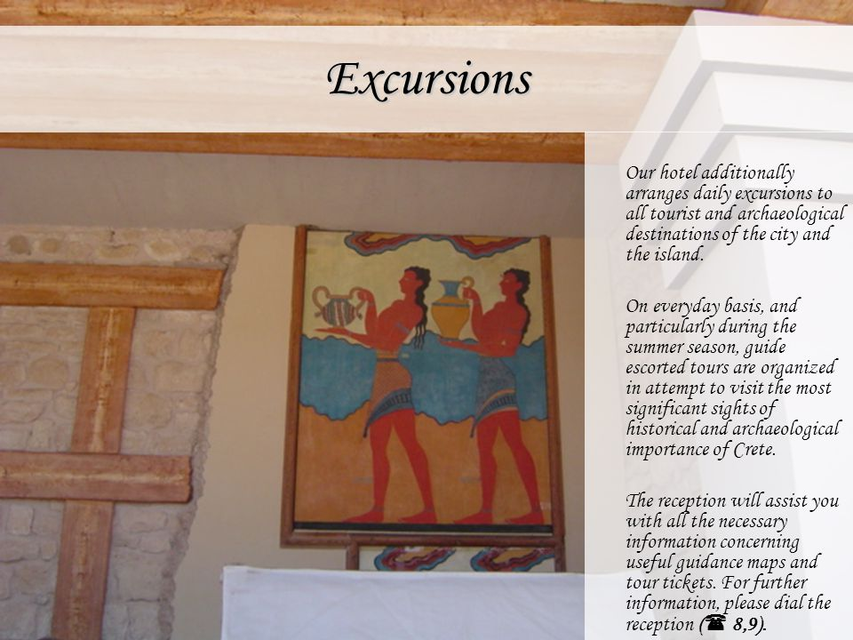 Excursions Our hotel additionally arranges daily excursions to all tourist and archaeological destinations of the city and the island.