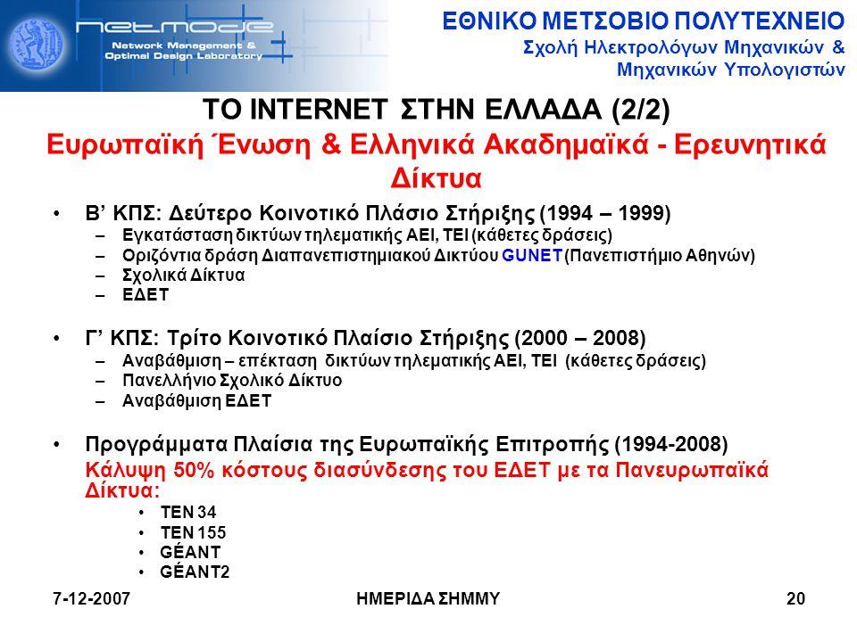 ΤΟ INTERNET ΣΤΗΝ ΕΛΛΑΔΑ (2/2) Ευρωπαϊκή Ένωση & Ελληνικά Ακαδημαϊκά - Ερευνητικά Δίκτυα