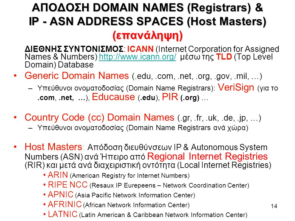 ΑΠΟΔΟΣΗ DOMAIN NAMES (Registrars) & IP - ASN ADDRESS SPACES (Host Masters) (επανάληψη)