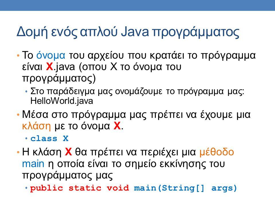 Δομή ενός απλού Java προγράμματος