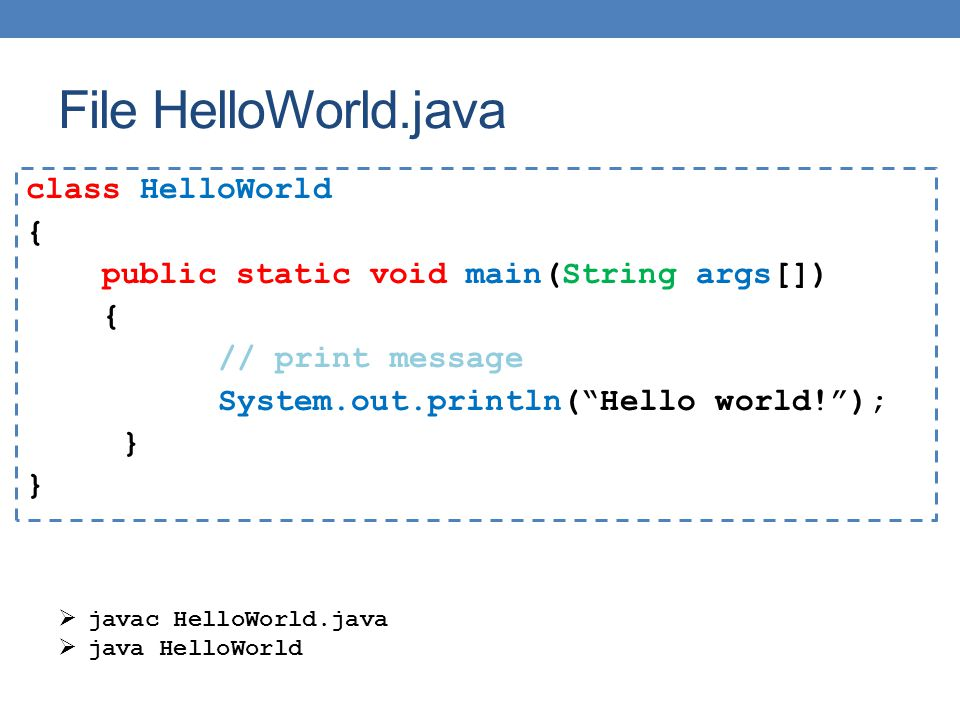 File HelloWorld.java class HelloWorld { public static void main(String args[]) // print message System.out.println( Hello world! ); }