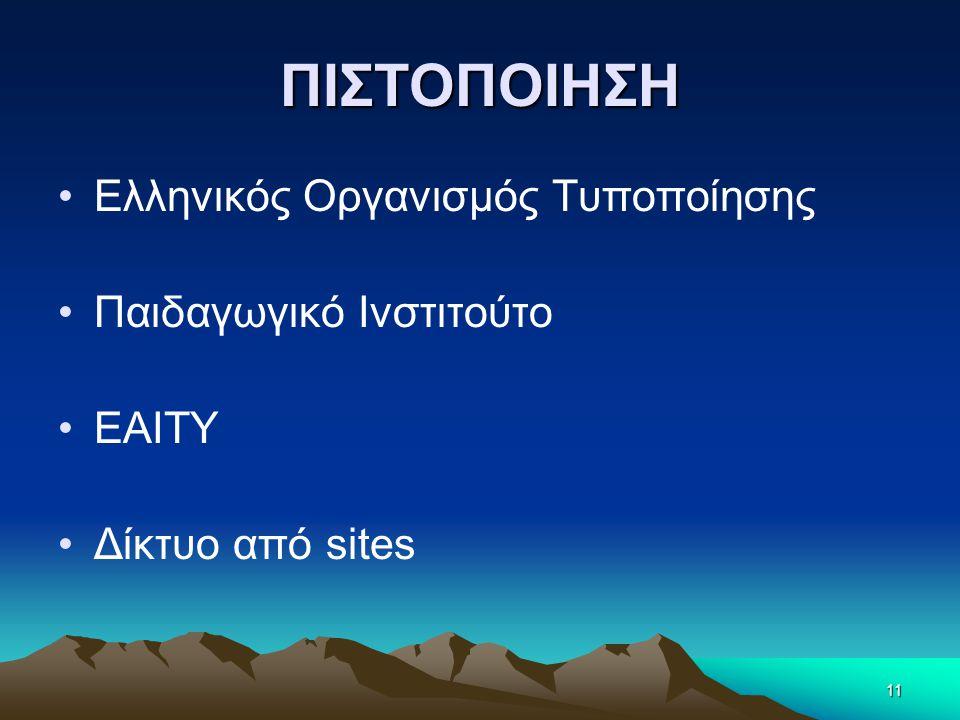 ΠΙΣΤΟΠΟΙΗΣΗ Ελληνικός Οργανισμός Τυποποίησης Παιδαγωγικό Ινστιτούτο