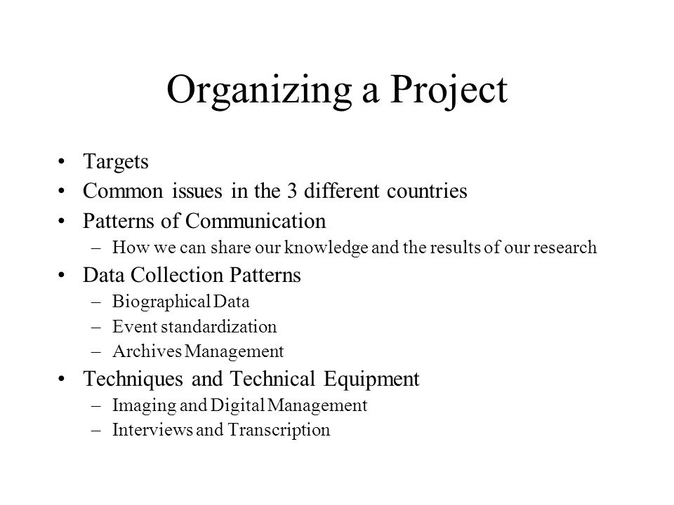 Organizing a Project Targets