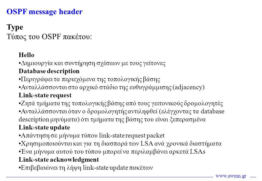 Τύπος του OSPF πακέτου: