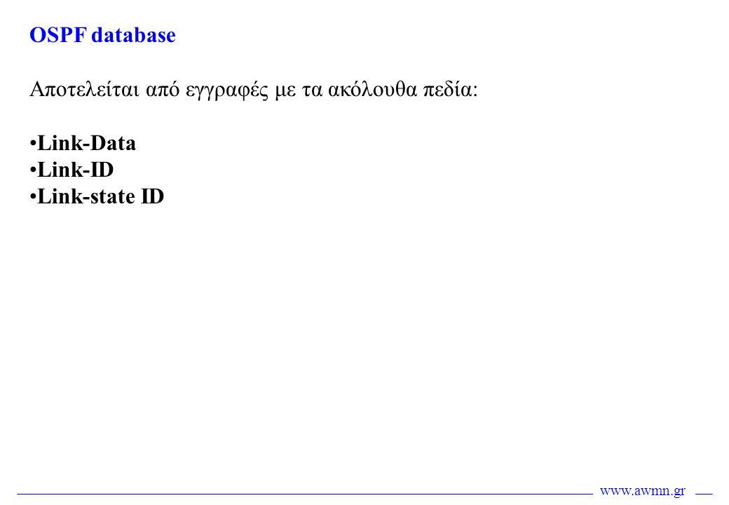 OSPF database Αποτελείται από εγγραφές με τα ακόλουθα πεδία: Link-Data Link-ID Link-state ID