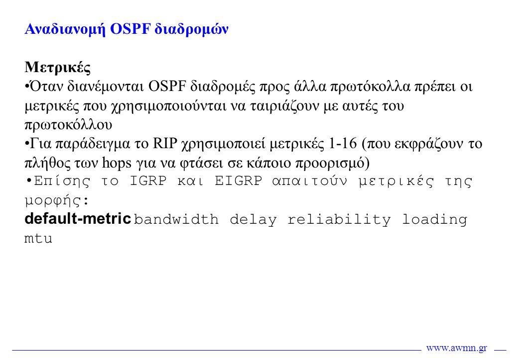 Αναδιανομή OSPF διαδρομών