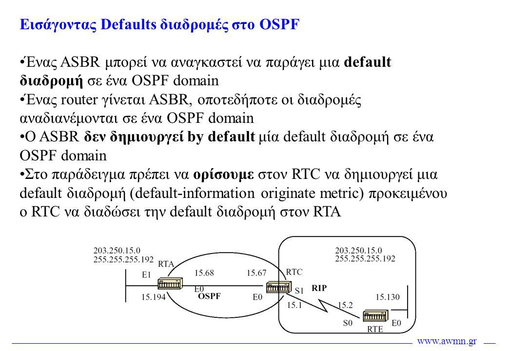 Εισάγοντας Defaults διαδρομές στο OSPF