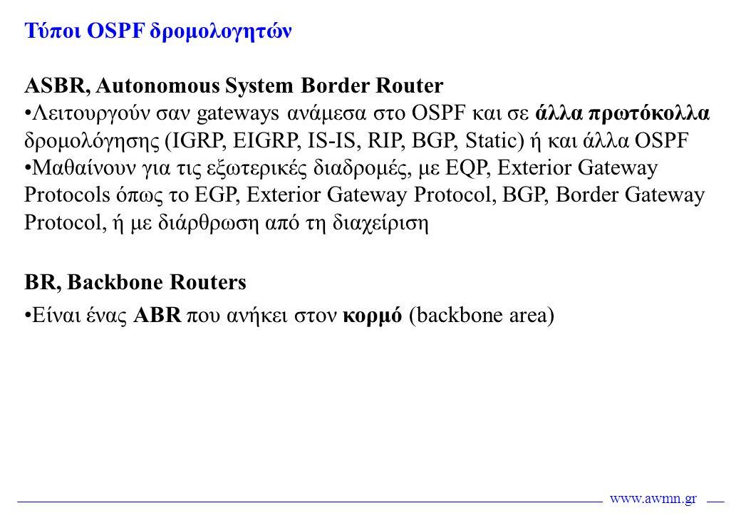 Τύποι OSPF δρομολογητών