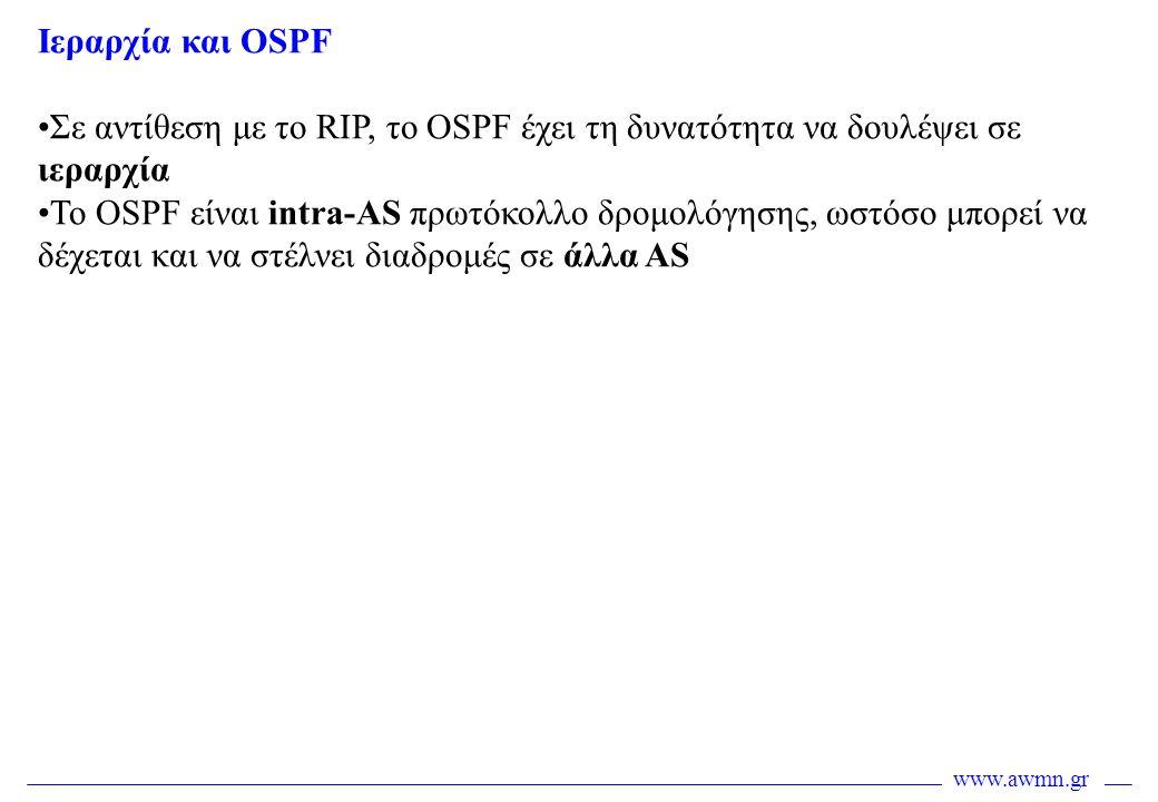 Ιεραρχία και OSPF Σε αντίθεση με το RIP, το OSPF έχει τη δυνατότητα να δουλέψει σε ιεραρχία.