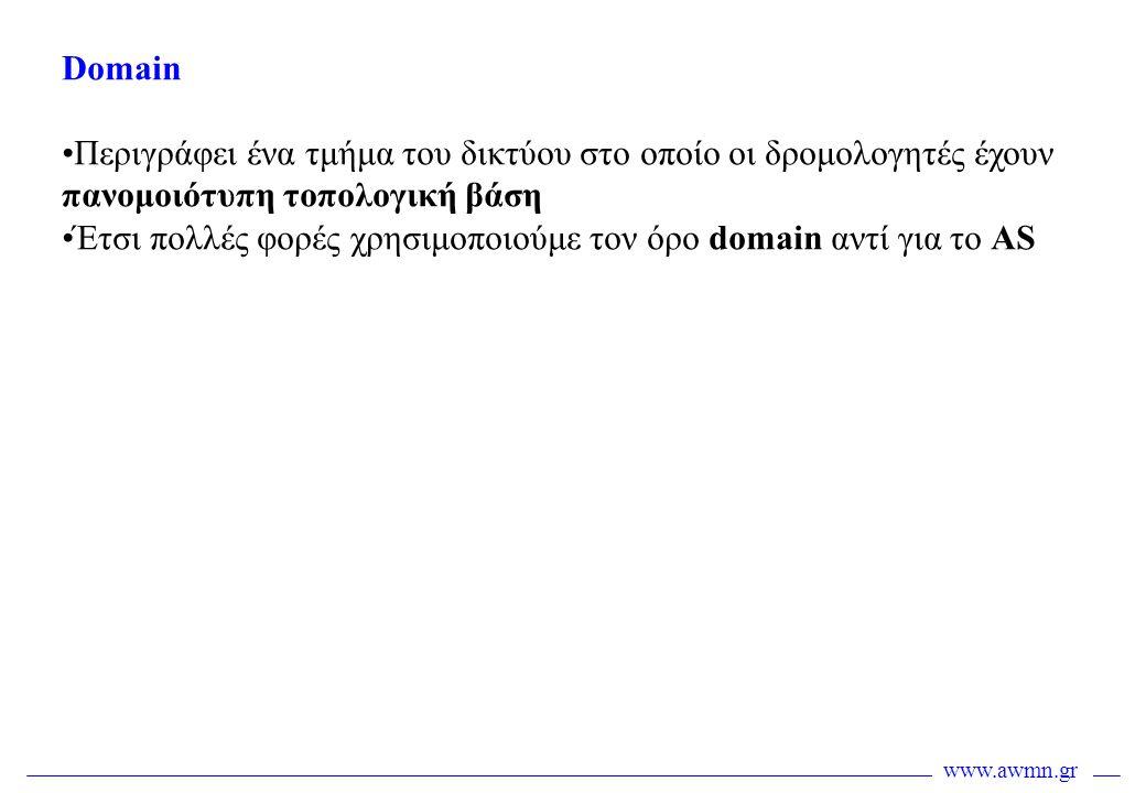 Domain Περιγράφει ένα τμήμα του δικτύου στο οποίο οι δρομολογητές έχουν πανομοιότυπη τοπολογική βάση.