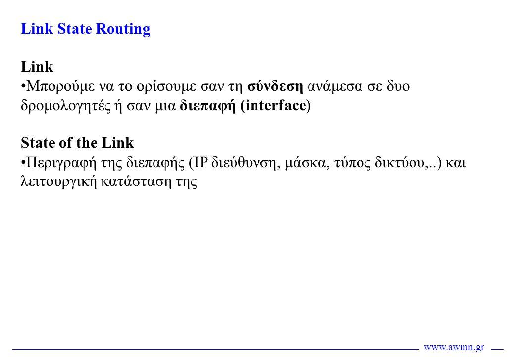 Link State Routing Link. Μπορούμε να το ορίσουμε σαν τη σύνδεση ανάμεσα σε δυο δρομολογητές ή σαν μια διεπαφή (interface)