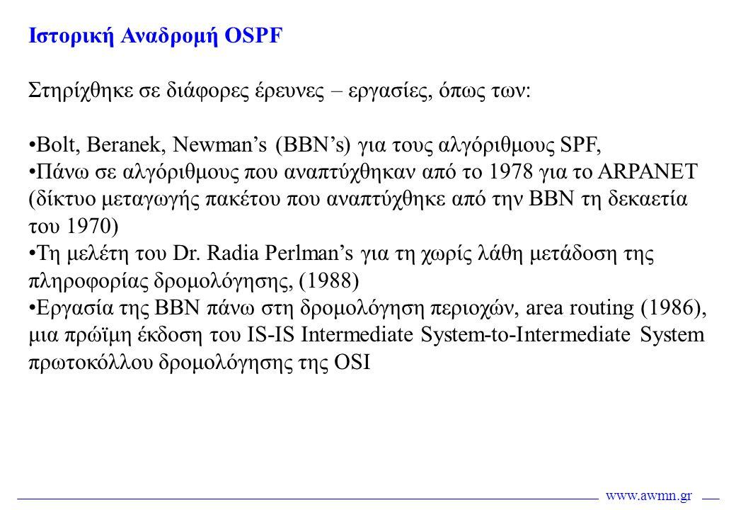 Ιστορική Αναδρομή OSPF