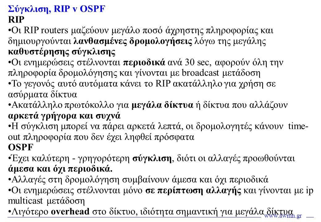 Σύγκλιση, RIP v OSPF RIP.