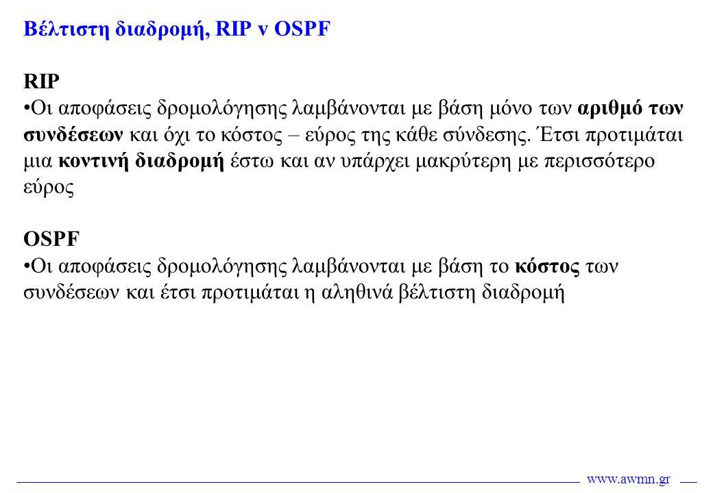 Βέλτιστη διαδρομή, RIP v OSPF