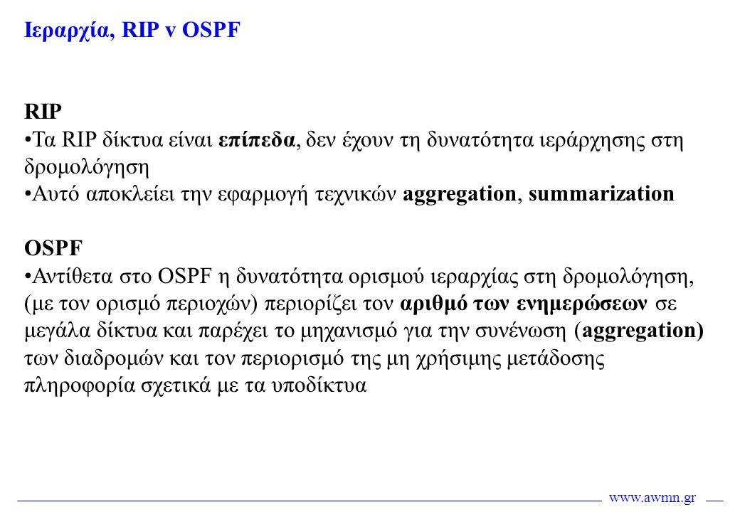 Iεραρχία, RIP v OSPF RIP. Τα RIP δίκτυα είναι επίπεδα, δεν έχουν τη δυνατότητα ιεράρχησης στη δρομολόγηση.