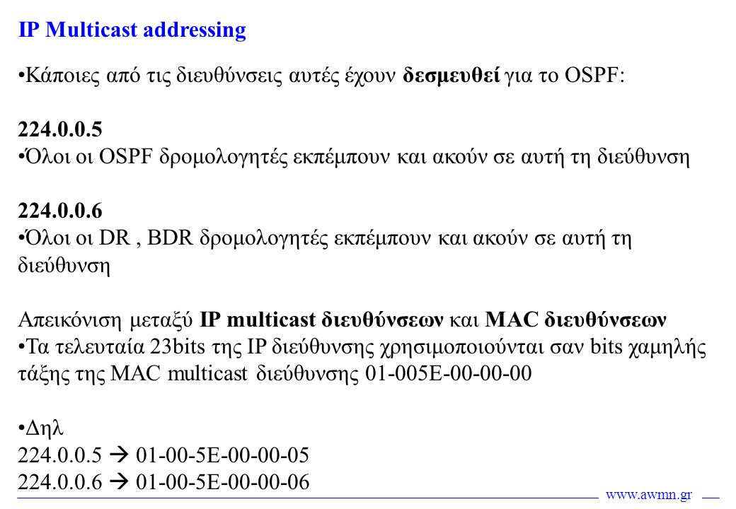 IP Multicast addressing