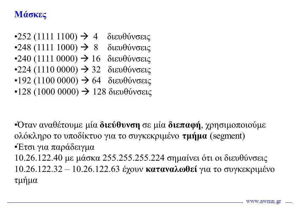 Μάσκες 252 (1111 1100)  4 διευθύνσεις. 248 (1111 1000)  8 διευθύνσεις. 240 (1111 0000)  16 διευθύνσεις.