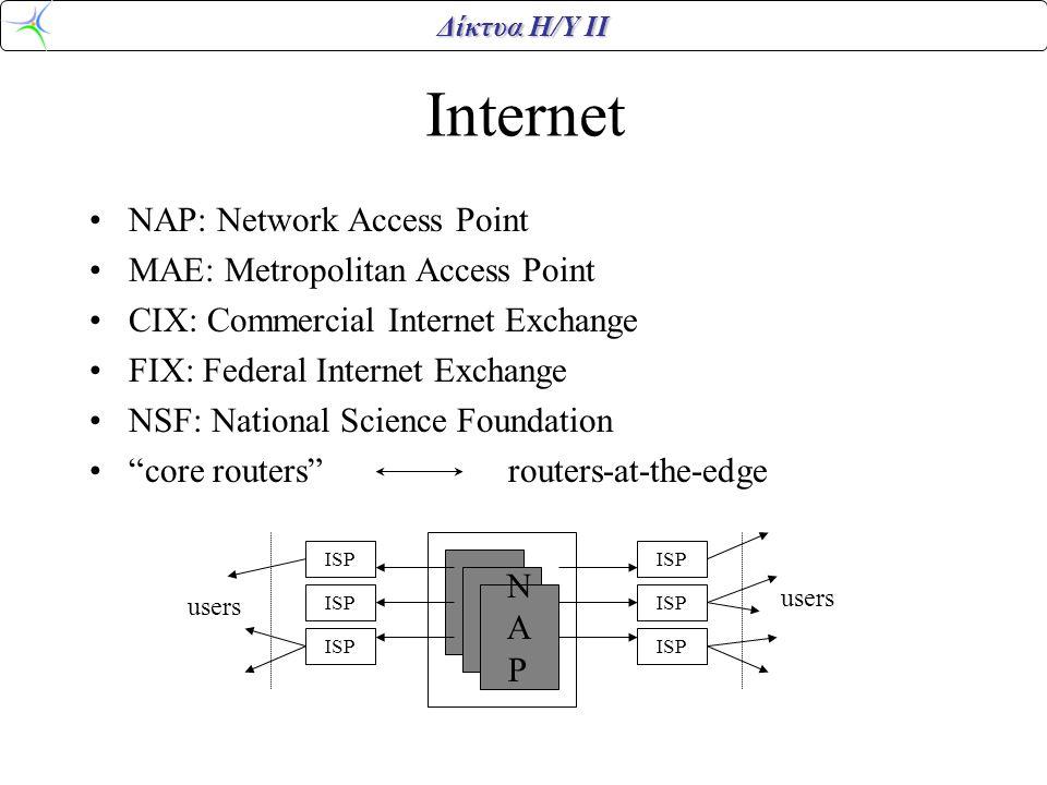 Internet NAP: Network Access Point MAE: Metropolitan Access Point