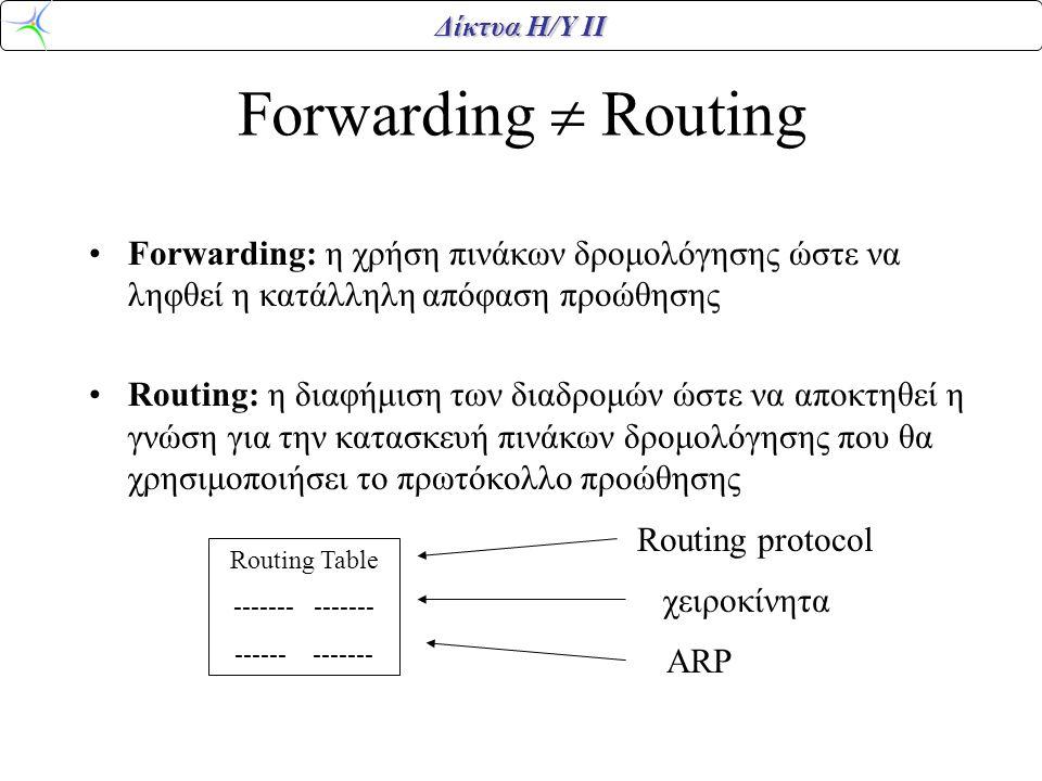 Forwarding  Routing Forwarding: η χρήση πινάκων δρομολόγησης ώστε να ληφθεί η κατάλληλη απόφαση προώθησης.