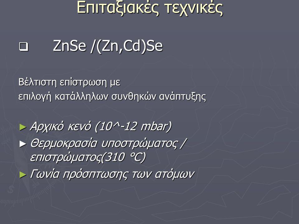 Επιταξιακές τεχνικές ZnSe /(Zn,Cd)Se Αρχικό κενό (10^-12 mbar)