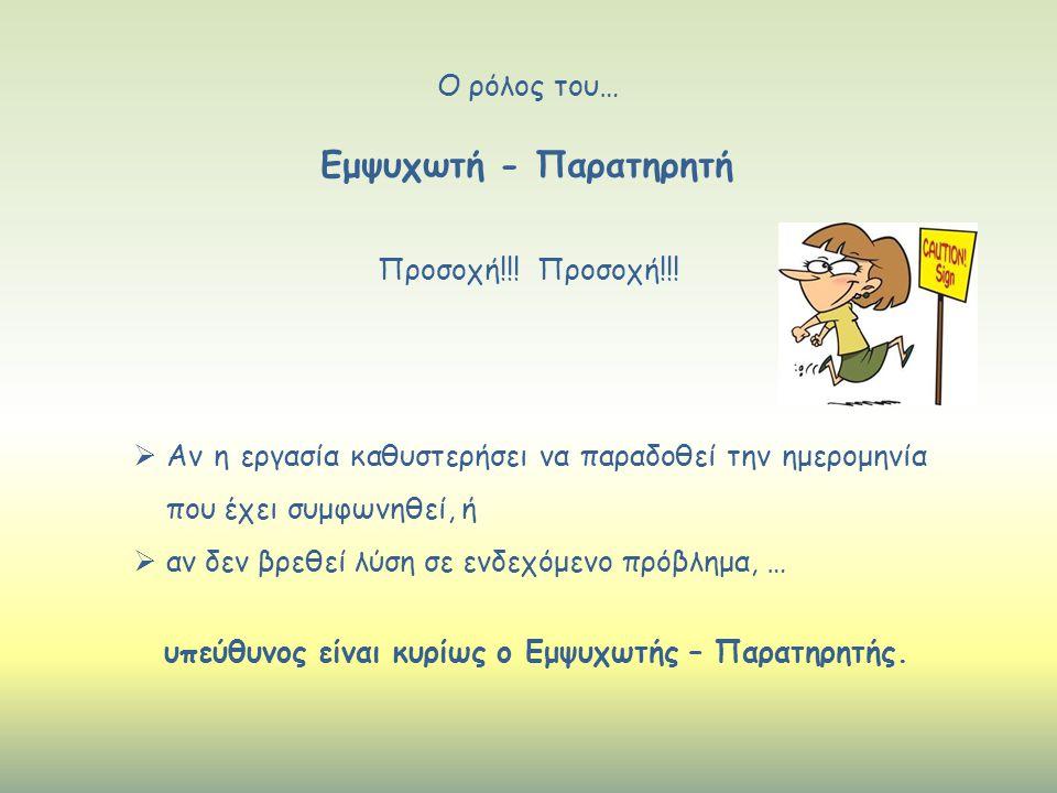 Εμψυχωτή - Παρατηρητή Ο ρόλος του… Προσοχή!!! Προσοχή!!!