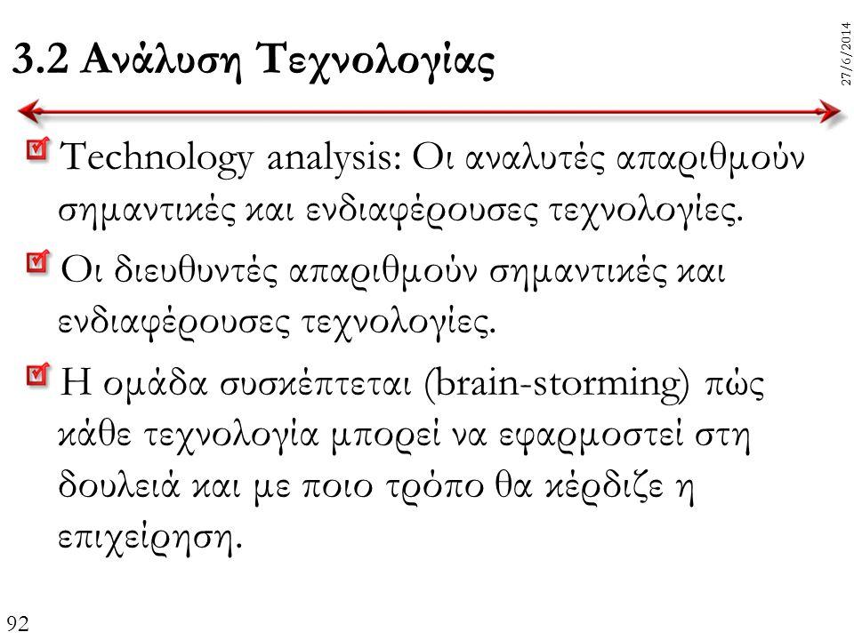 3.2 Ανάλυση Τεχνολογίας 3/4/2017. 3/4/2017. Technology analysis: Οι αναλυτές απαριθμούν σημαντικές και ενδιαφέρουσες τεχνολογίες.