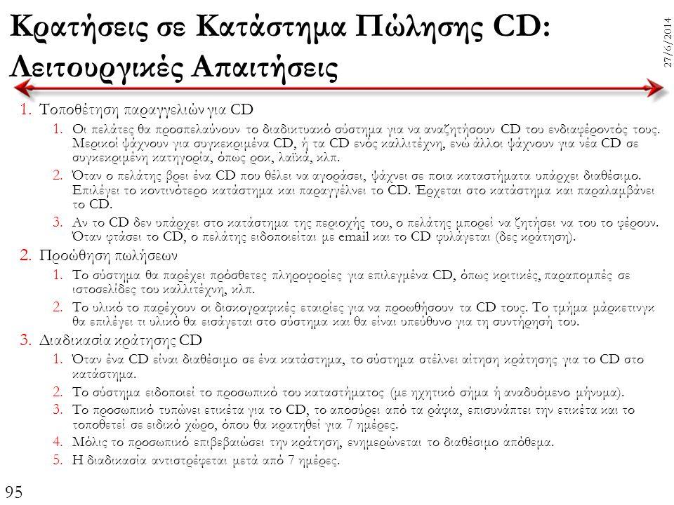Κρατήσεις σε Κατάστημα Πώλησης CD: Λειτουργικές Απαιτήσεις