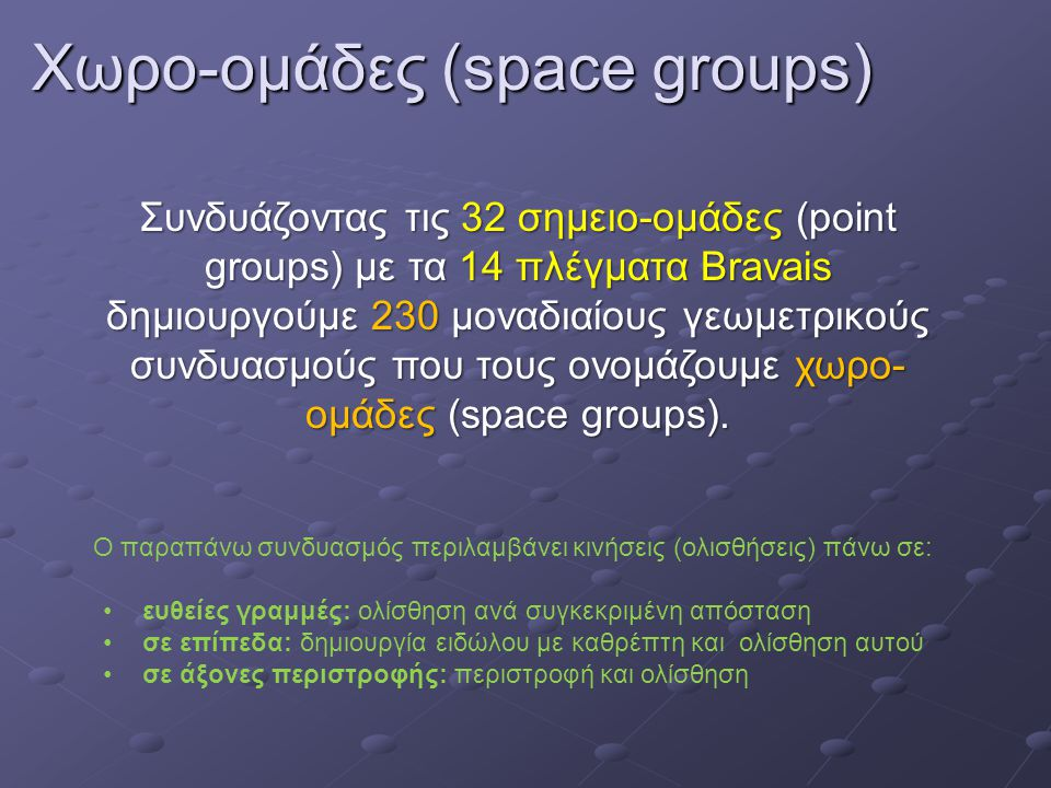Χωρο-ομάδες (space groups)