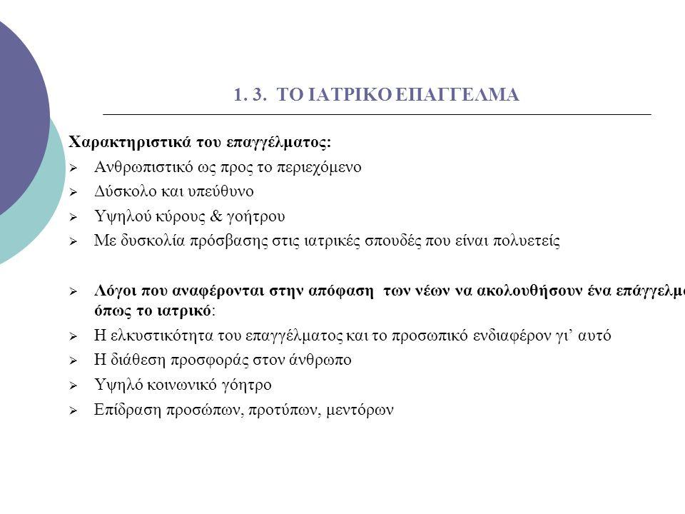 1. 3. ΤΟ ΙΑΤΡΙΚΟ ΕΠΑΓΓΕΛΜΑ Χαρακτηριστικά του επαγγέλματος: