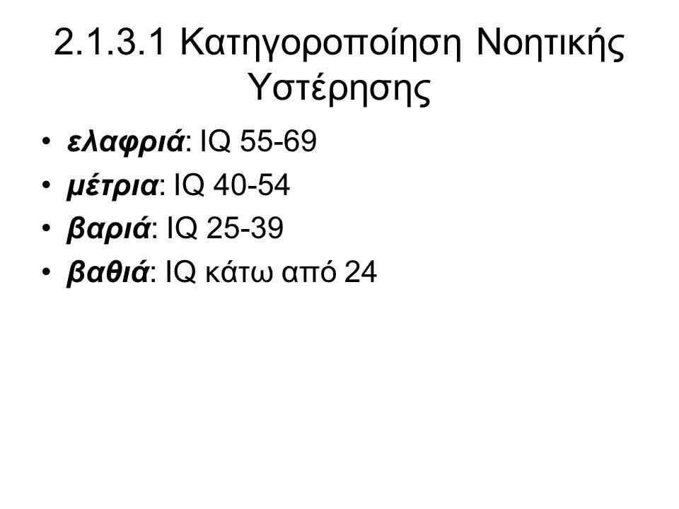 2.1.3.1 Κατηγοροποίηση Νοητικής Υστέρησης