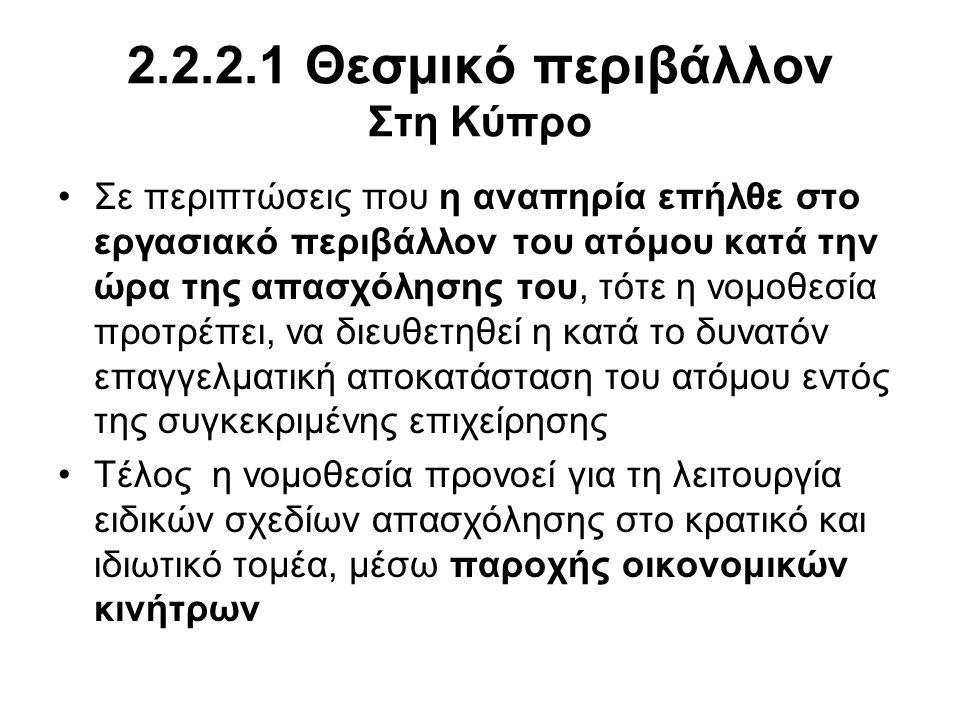 2.2.2.1 Θεσμικό περιβάλλον Στη Κύπρο