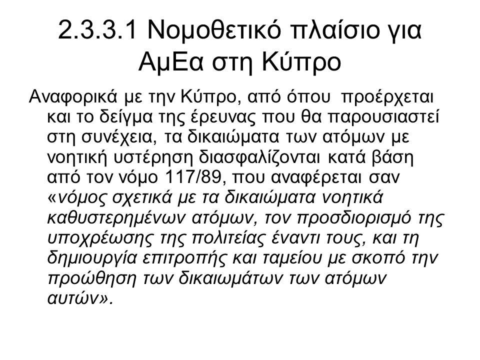 2.3.3.1 Νομοθετικό πλαίσιο για ΑμΕα στη Κύπρο