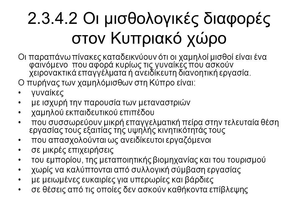 2.3.4.2 Οι μισθολογικές διαφορές στον Κυπριακό χώρο