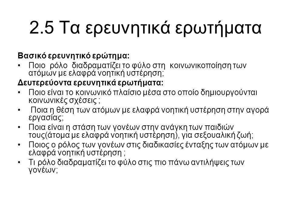 2.5 Τα ερευνητικά ερωτήματα