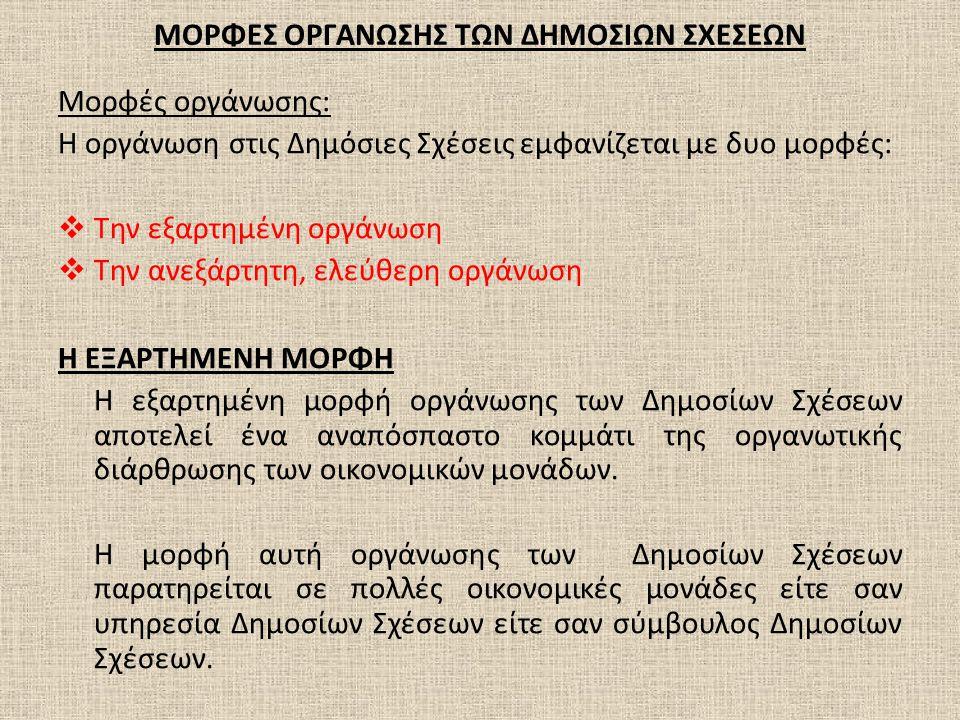 ΜΟΡΦΕΣ ΟΡΓΑΝΩΣΗΣ ΤΩΝ ΔΗΜΟΣΙΩΝ ΣΧΕΣΕΩΝ