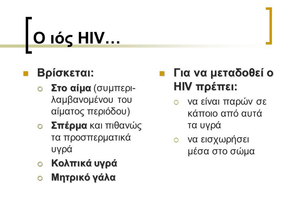 Ο ιός HIV… Βρίσκεται: Για να μεταδοθεί ο HIV πρέπει:
