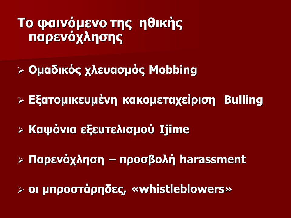 Το φαινόμενο της ηθικής παρενόχλησης