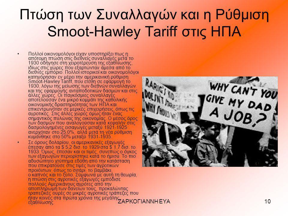 Πτώση των Συναλλαγών και η Ρύθμιση Smoot-Hawley Tariff στις ΗΠΑ