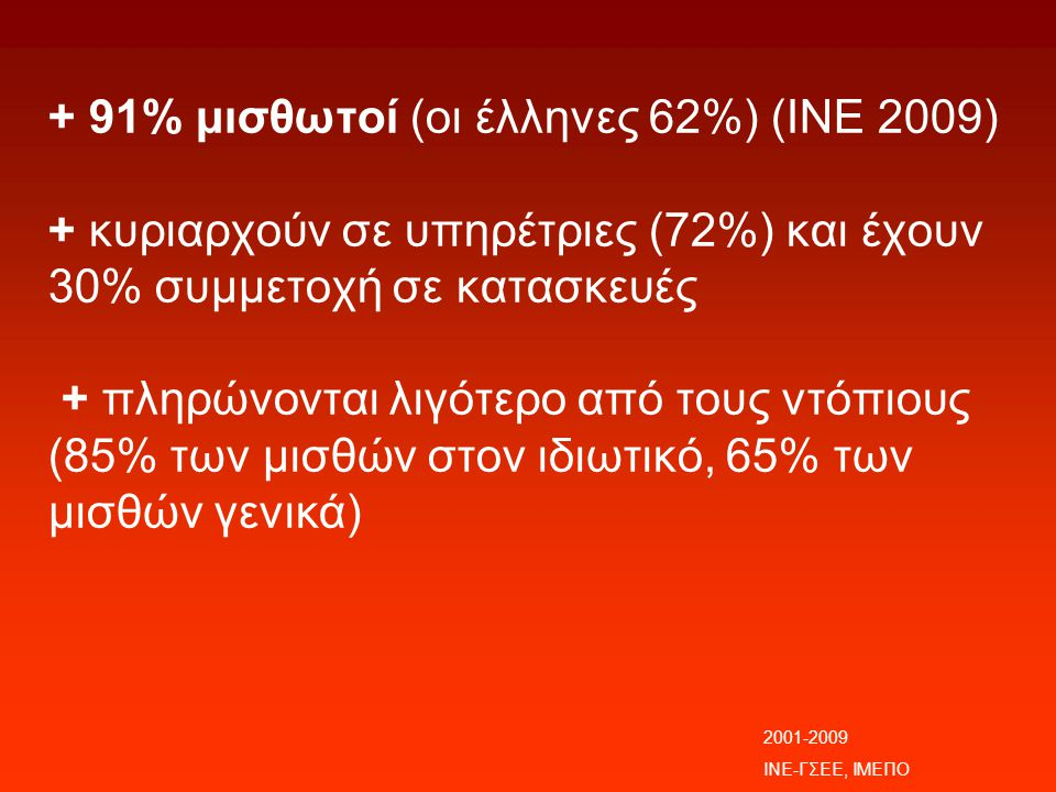 + 91% μισθωτοί (οι έλληνες 62%) (ΙΝΕ 2009) + κυριαρχούν σε υπηρέτριες (72%) και έχουν 30% συμμετοχή σε κατασκευές + πληρώνονται λιγότερο από τους ντόπιους (85% των μισθών στον ιδιωτικό, 65% των μισθών γενικά)